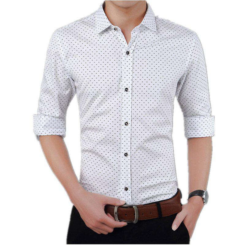 Men'S Casual Printed Shirt - WHITE L
