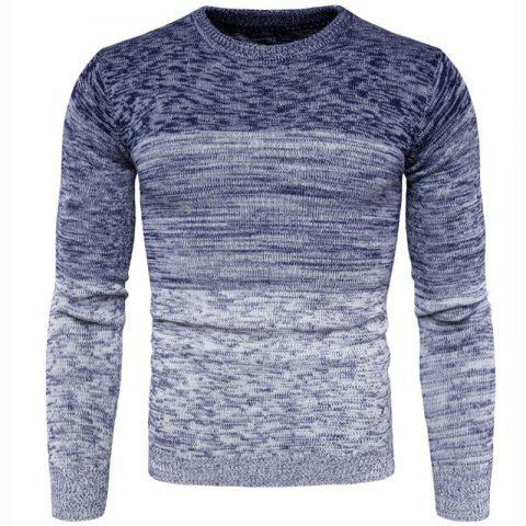 Men's Going out Casual Daily Holiday Simple Regular Pullover Color Block Round Neck Long Sleeves Wool Sweater - BLUE XL