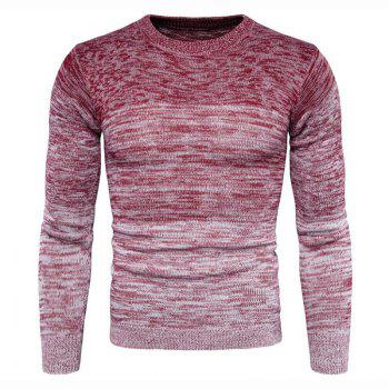Men's Going out Casual Daily Holiday Simple Regular Pullover Color Block Round Neck Long Sleeves Wool Sweater - RED RED