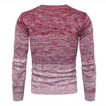 Men's Going out Casual Daily Holiday Simple Regular Pullover Color Block Round Neck Long Sleeves Wool Sweater - RED L