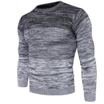 Men's Going out Casual Daily Holiday Simple Regular Pullover Color Block Round Neck Long Sleeves Wool Sweater - GRAY M