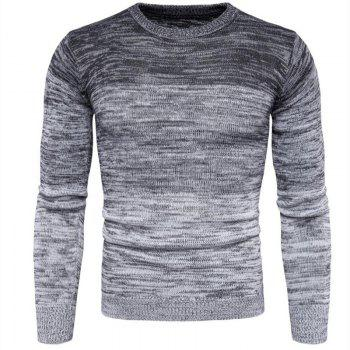 Men's Going out Casual Daily Holiday Simple Regular Pullover Color Block Round Neck Long Sleeves Wool Sweater - GRAY GRAY