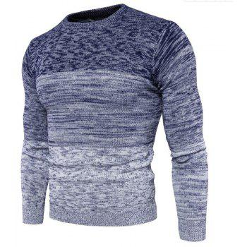 Men's Going out Casual Daily Holiday Simple Regular Pullover Color Block Round Neck Long Sleeves Wool Sweater - BLUE 3XL
