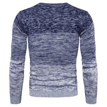 Men's Going out Casual Daily Holiday Simple Regular Pullover Color Block Round Neck Long Sleeves Wool Sweater - BLUE M