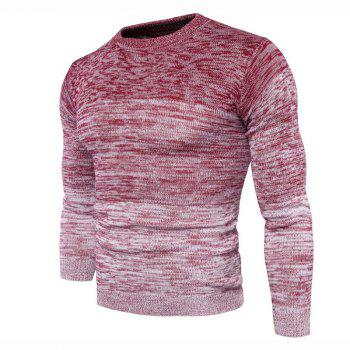 Men's Going out Casual Daily Holiday Simple Regular Pullover Color Block Round Neck Long Sleeves Wool Sweater - RED M