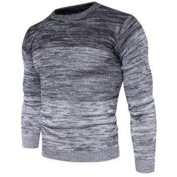 Men's Going out Casual Daily Holiday Simple Regular Pullover Color Block Round Neck Long Sleeves Wool Sweater - GRAY L