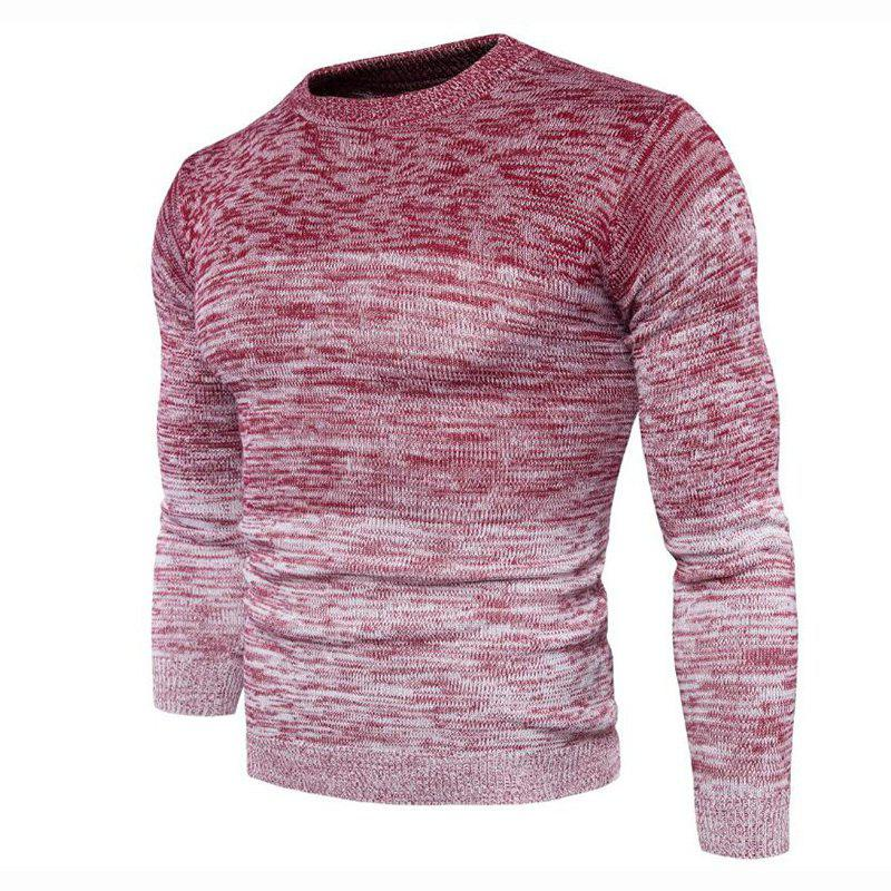 Men's Going out Casual Daily Holiday Simple Regular Pullover Color Block Round Neck Long Sleeves Wool Sweater - RED 2XL