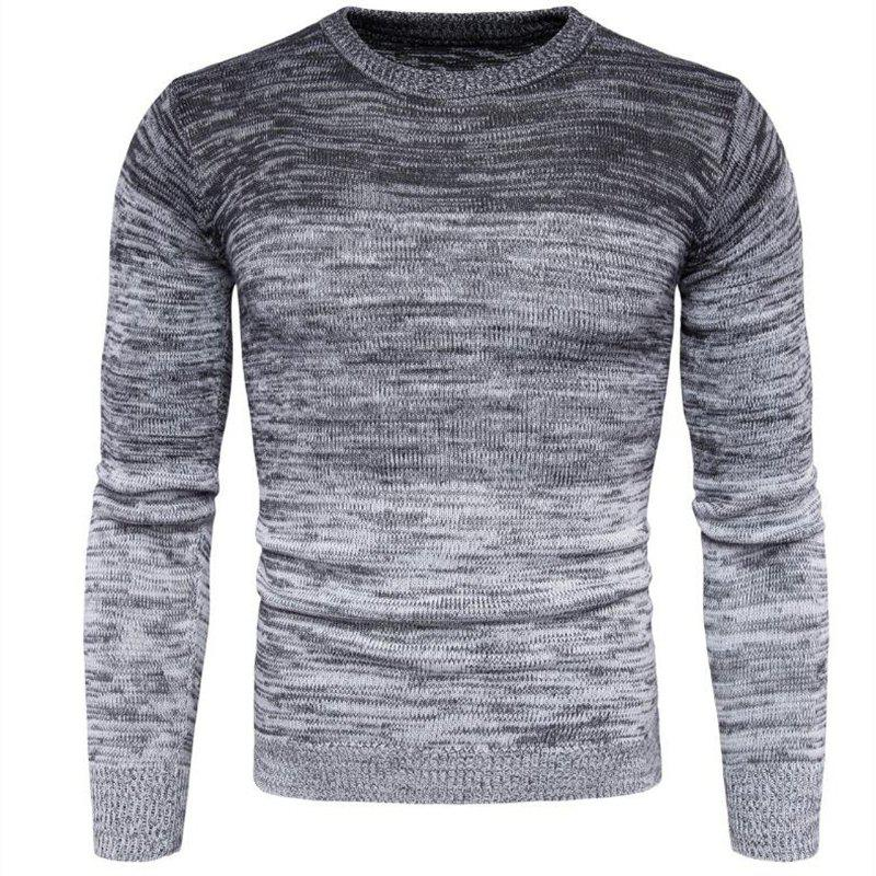 Men's Going out Casual Daily Holiday Simple Regular Pullover Color Block Round Neck Long Sleeves Wool Sweater - GRAY 3XL