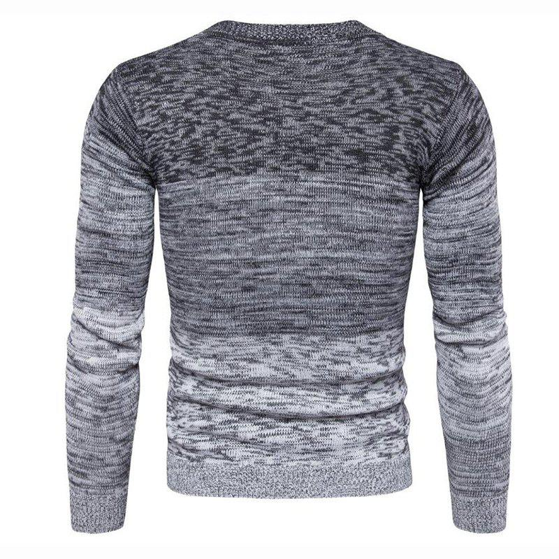 Men's Going out Casual Daily Holiday Simple Regular Pullover Color Block Round Neck Long Sleeves Wool Sweater - GRAY XL