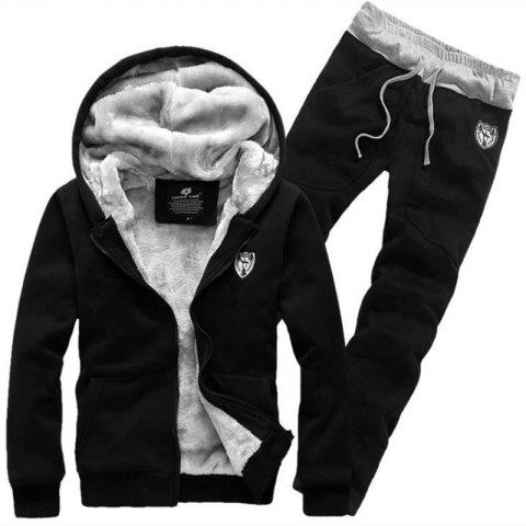 Men's Sports Casual Daily Hoodie Solid Hooded Micro elastic Cotton Long Sleeves Suit - BLACK M