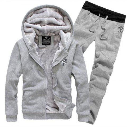 Men's Sports Casual Daily Hoodie Solid Hooded Micro elastic Cotton Long Sleeves Suit - GRAY 2XL