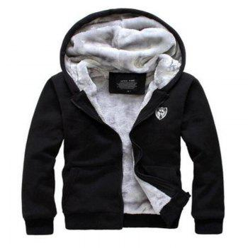 Men's Sports Casual Daily Hoodie Solid Hooded Micro elastic Cotton Long Sleeves Suit - BLACK XL