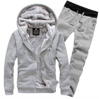 Men's Sports Casual Daily Hoodie Solid Hooded Micro elastic Cotton Long Sleeves Suit - GRAY GRAY