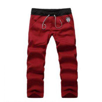 Men's Sports Casual Daily Hoodie Solid Hooded Micro elastic Cotton Long Sleeves Suit - RED 2XL