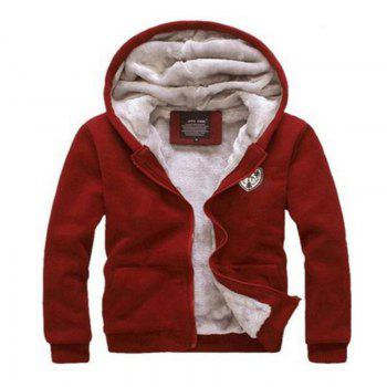 Men's Sports Casual Daily Hoodie Solid Hooded Micro elastic Cotton Long Sleeves Suit - RED M