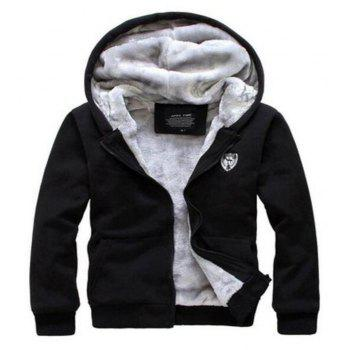 Men's Sports Casual Daily Hoodie Solid Hooded Micro elastic Cotton Long Sleeves Suit - BLACK L