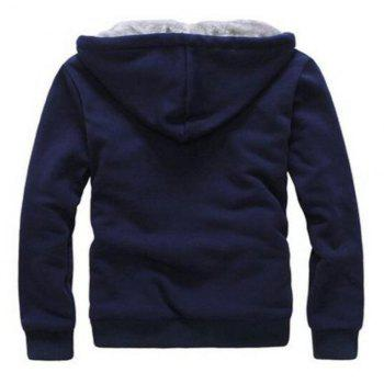 Men's Sports Casual Daily Hoodie Solid Hooded Micro elastic Cotton Long Sleeves Suit - BLUE XL