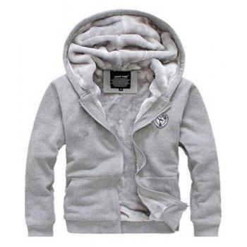 Men's Sports Casual Daily Hoodie Solid Hooded Micro elastic Cotton Long Sleeves Suit - GRAY L