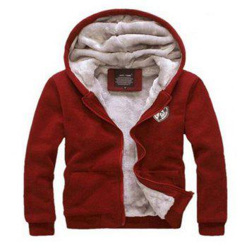 Men's Sports Casual Daily Hoodie Solid Hooded Micro elastic Cotton Long Sleeves Suit - RED L