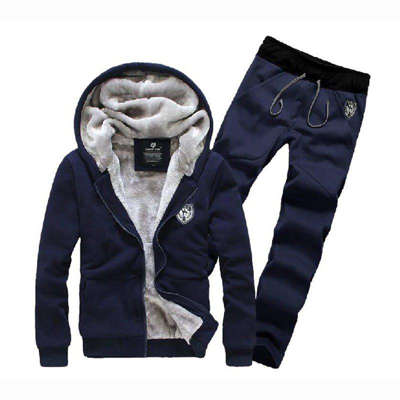 Men's Sports Casual Daily Hoodie Solid Hooded Micro elastic Cotton Long Sleeves Suit - BLUE 2XL