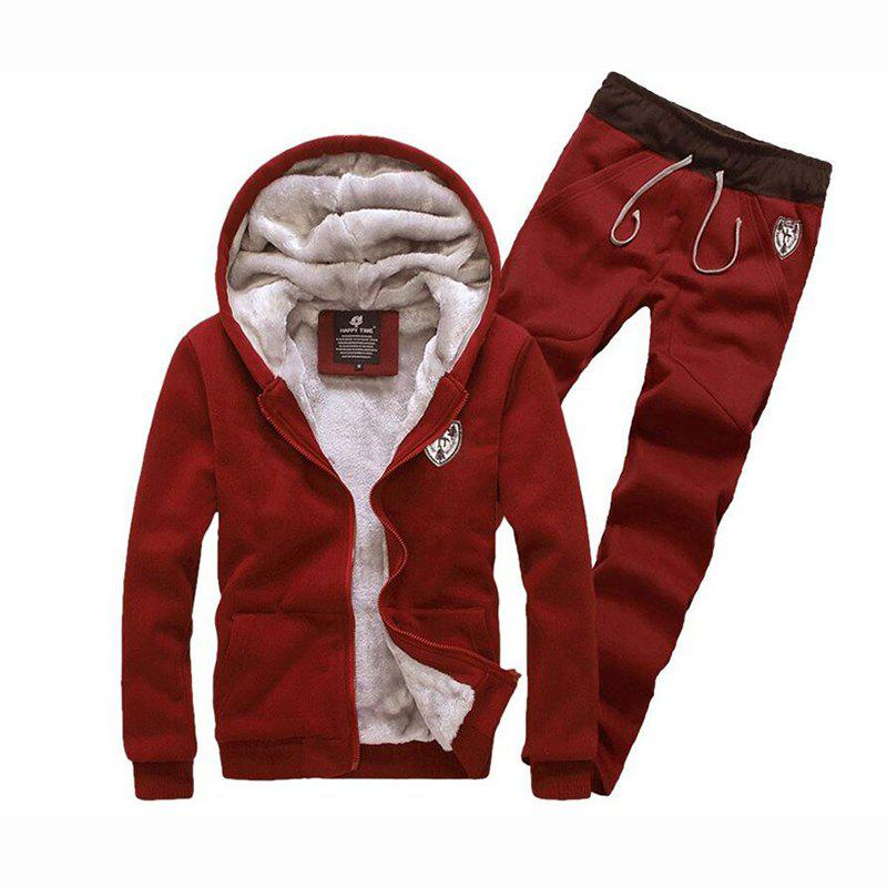 Men's Sports Casual Daily Hoodie Solid Hooded Micro elastic Cotton Long Sleeves Suit - RED XL