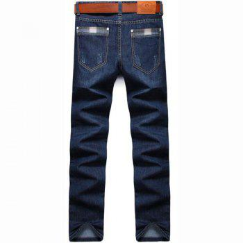 Men's High Rise Inelastic Jeans Pants Simple Jeans Solid - BLUE BLUE