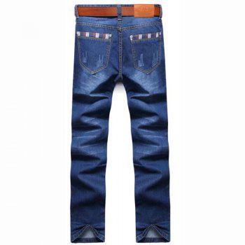 Men's High Rise Inelastic Jeans Pants Simple Jeans Solid - LIGHT BLUE 34