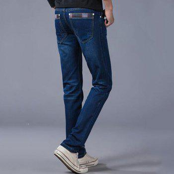 Men's High Rise Inelastic Jeans Pants Simple Jeans Solid - BLUE 32