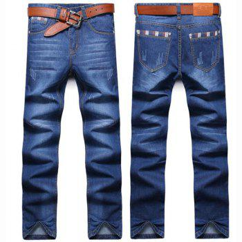 Men's High Rise Inelastic Jeans Pants Simple Jeans Solid - LIGHT BLUE 32