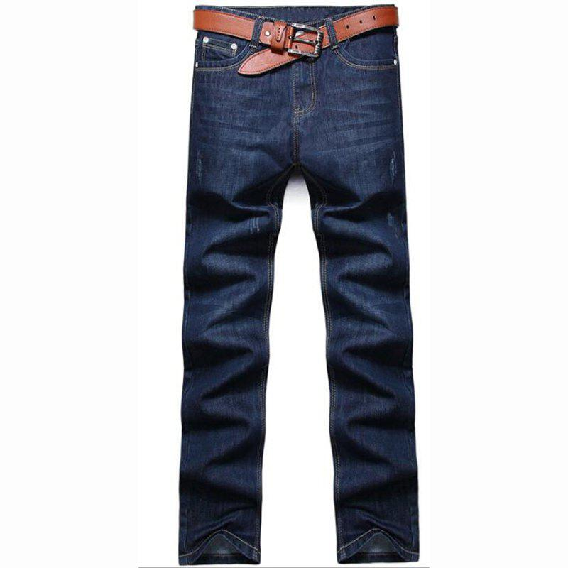 Men's High Rise Inelastic Jeans Pants Simple Jeans Solid - BLUE 38