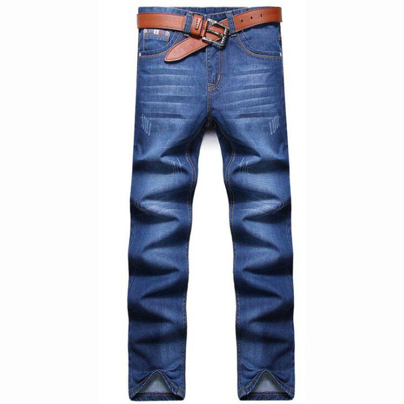 Men's High Rise Inelastic Jeans Pants Simple Jeans Solid - LIGHT BLUE 33