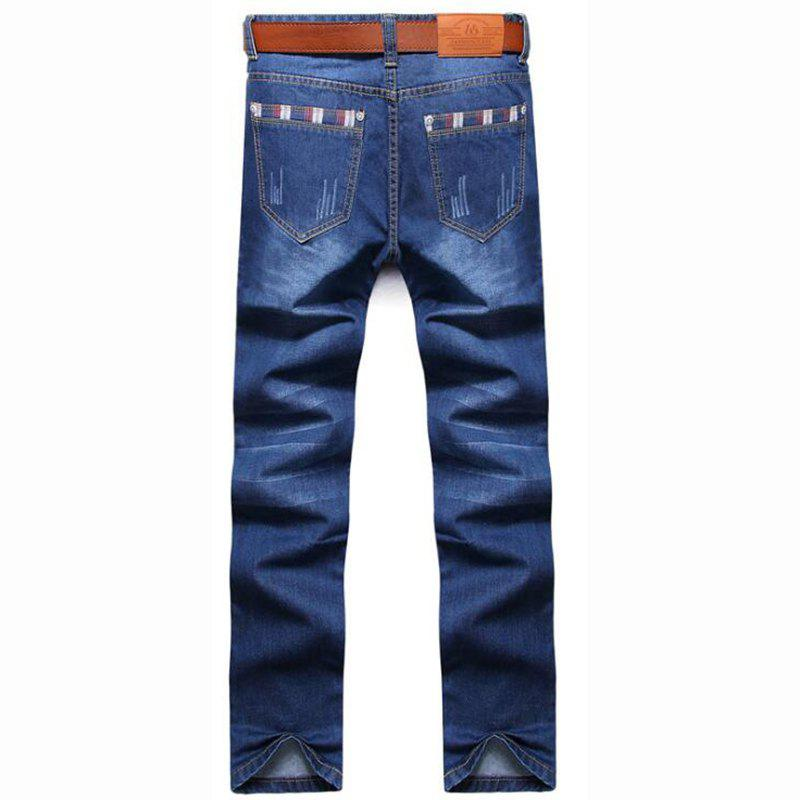 Men's High Rise Inelastic Jeans Pants Simple Jeans Solid - LIGHT BLUE 30