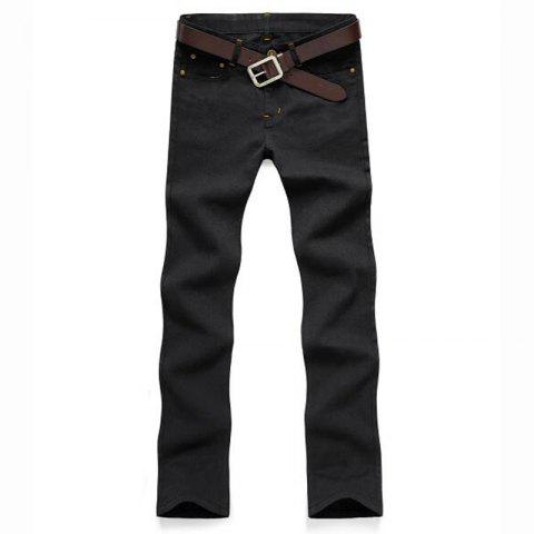 Men's Mid Rise Micro Elastic Jeans Chinos Pants Simple Jeans Chinos Solid - BLACK 29