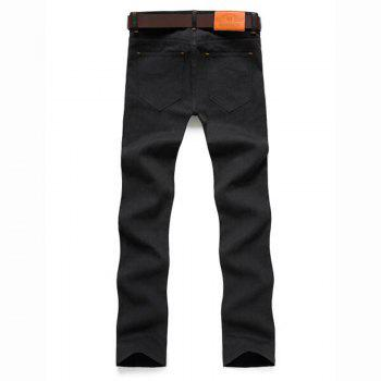 Men's Mid Rise Micro Elastic Jeans Chinos Pants Simple Jeans Chinos Solid - BLACK BLACK