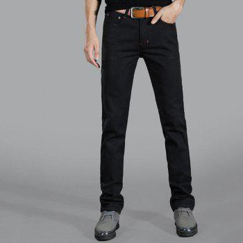 Men's Mid Rise Micro Elastic Jeans Chinos Pants Simple Jeans Chinos Solid - BLACK 33