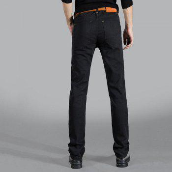 Men's Mid Rise Micro Elastic Jeans Chinos Pants Simple Jeans Chinos Solid - BLACK 30