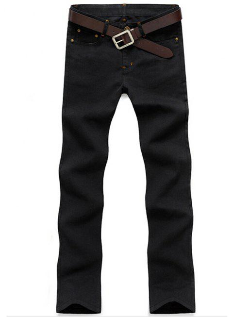Men's Mid Rise Micro Elastic Jeans Pants Chinoiserie Simple Straight Solid - BLACK 36