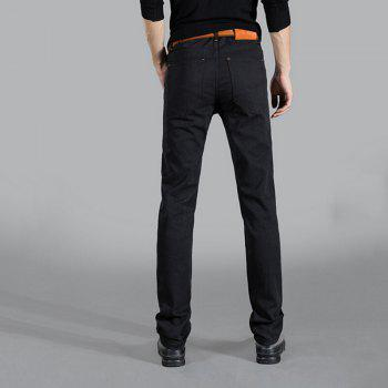 Men's Mid Rise Micro Elastic Jeans Pants Chinoiserie Simple Straight Solid - BLACK 33