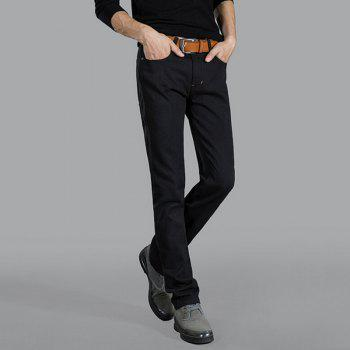 Men's Mid Rise Micro Elastic Jeans Pants Chinoiserie Simple Straight Solid - BLACK 30