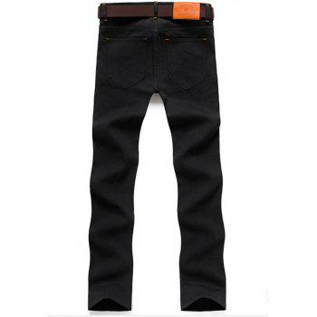 Men's Mid Rise Micro Elastic Jeans Pants Chinoiserie Simple Straight Solid - BLACK BLACK