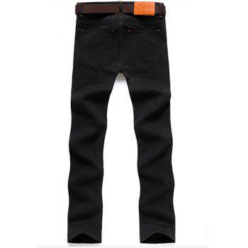 Men's Mid Rise Micro Elastic Jeans Pants Chinoiserie Simple Straight Solid - BLACK XL
