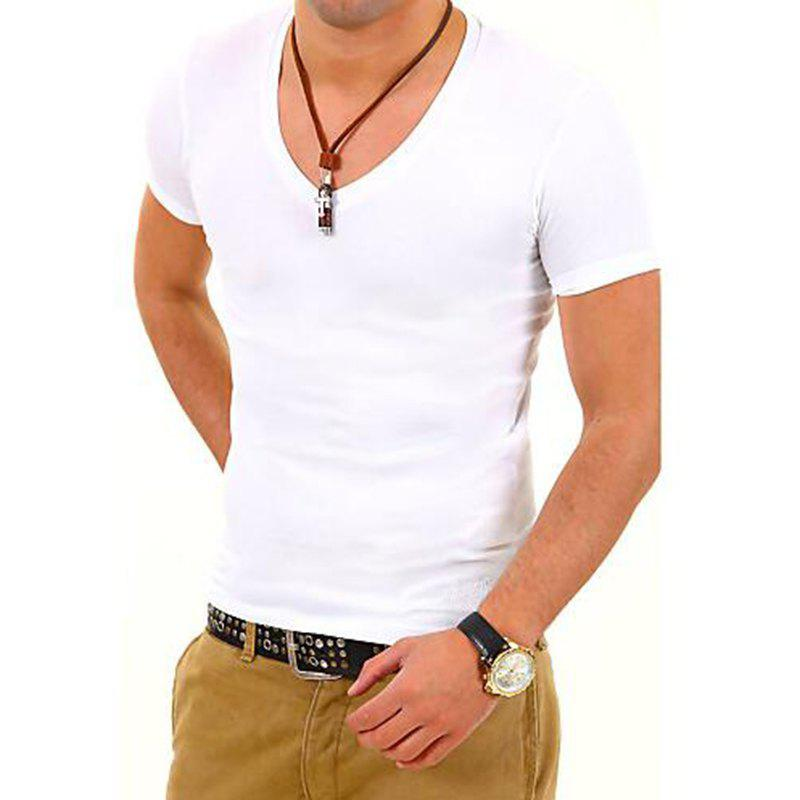 Men's Sports Formal Casual Daily Work Plus Size Simple T-shirt Solid Short Sleeves Cotton Polyester men s casual daily simple shirt check stand long sleeves cotton t shirt