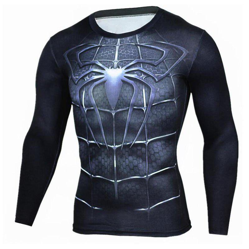 Men's Going out Formal Simple Active Spring Fall T-shirt Print Round Neck Long Sleeve Blue Cotton Medium going solo