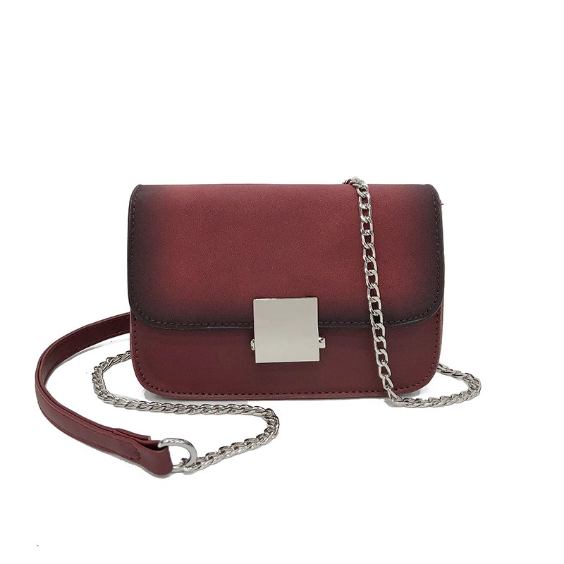 Chain Small Square Shoulder Messenger Bag Fashion Wild Lock Handbags - RED