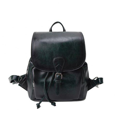 The Korean version of the simple PU bucket bag travel lady Backpack - GREEN