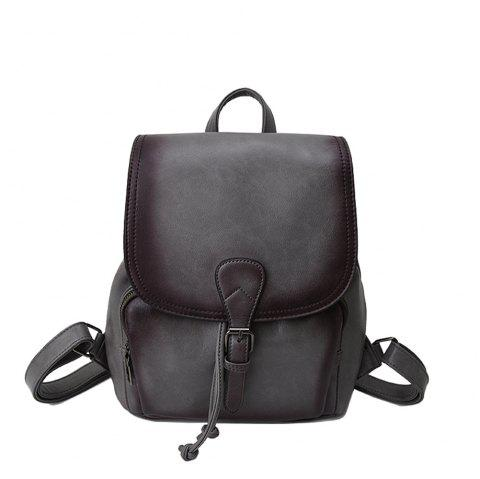 The Korean version of the simple PU bucket bag travel lady Backpack - GRAY