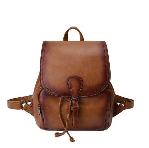 The Korean version of the simple PU bucket bag travel lady Backpack - BROWN D STYLE