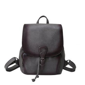 The Korean version of the simple PU bucket bag travel lady Backpack - GRAY GRAY
