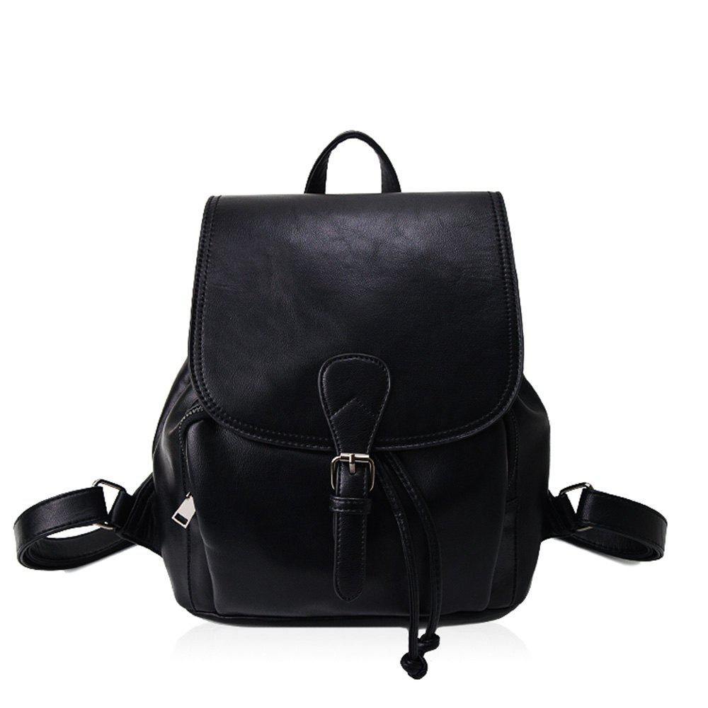 The Korean version of the simple PU bucket bag travel lady Backpack - BLACK