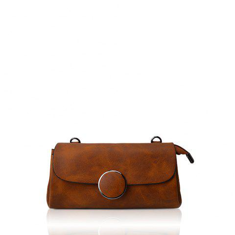 A simple small circle buckle diagonal single shoulder bag hand bag with rectangle - BROWN D STYLE